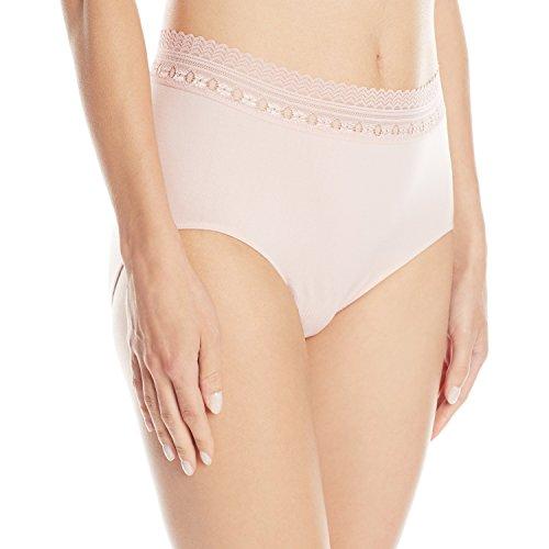 Bali Women's Comfort Revolution Seamless Brief Panty,Sheer Pale Pink Lace,6/7 (Sheer Brief Panty)