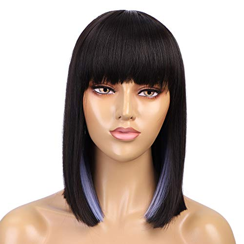 ENTRANCED STYLES Black Wig with Bangs Short Straight Bob Wigs for Women Fashion Heat Resistant Synthetic Wig Daily Party Cosplay Use