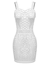 Meaneor Women's Sequin Bodycon Sexy Sleeveless Rhinestone Club Party Strap Dress …