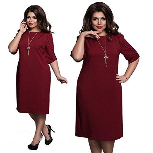 Da Dd Manica Gonna Partito Metà Aderente Colore Del Rossa up Donna Extrasize Solido Girocollo Lunga Vestito Uwq41gP