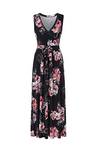 BEAUTIFUL-LIFE Summer Dresses Summer Dresses for Women Maxi Dresses Maxi Dresses (XX-Large, Black&Red) ()