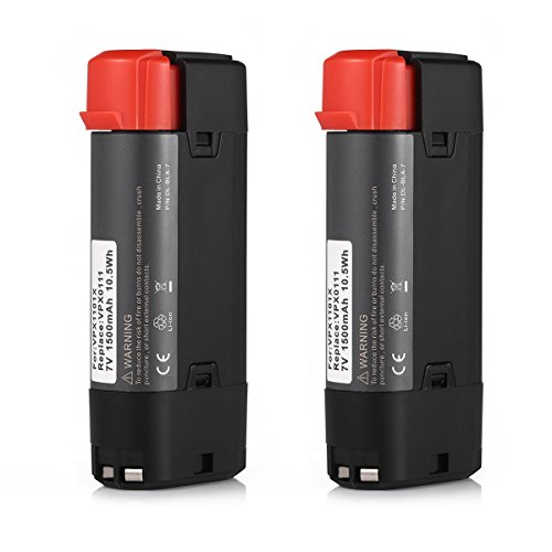 Powerextra 2 Pack 7V 1500mAh Li-ion Black & Decker VPX0111 Replacement Battery Compatible with VPX1101 VPX1101X VPX1201 VPX1212 VPX1212X VPX1301 VPX1301X VPX1401 VPX1501 VPX2102 by Powerextra
