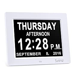3 Alarm Options - 8 Digital Calendar Alarm Day Clock with Extra Large Non-Abbreviated Day & Month SDC008 by Svinz - 2 Color Display Settings