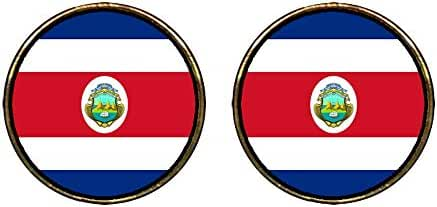 GiftJewelryShop Gold Plated Costa Rica flag Photo Stud Earrings 12mm Diameter