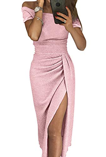 Douremifa Cocktail Party Sequin Prom Gowns for Womens Off Shoulder Short Sleeve Ladies Slit Ruched Elegant Dress Sexy Clubwear Pink L