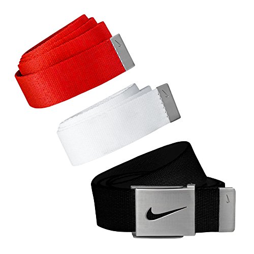 Nike Golf Mens Web Belt 3-Pack,fits up to 42, Red,Black,White ()