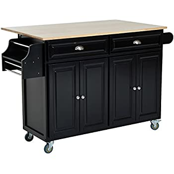 homcom rolling kitchen island storage cart w drop leaf top black