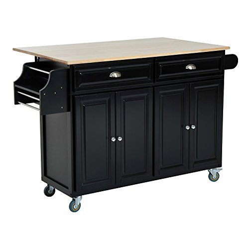 HomCom Rolling Kitchen Island Storage Cart w/ Drop Leaf Top - (Kitchen Island With Drop Leaf)