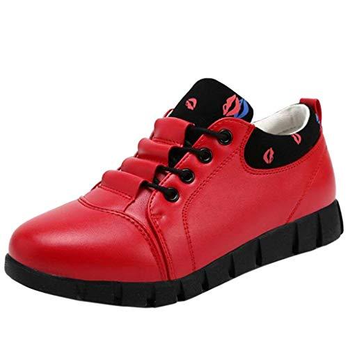 Chiusura Con colore 2 Basse Uk Fuxitoggo Dimensione Rosso A Sneakers Allacciate Rosso Donna Casual Bocca Da wapf4qIx