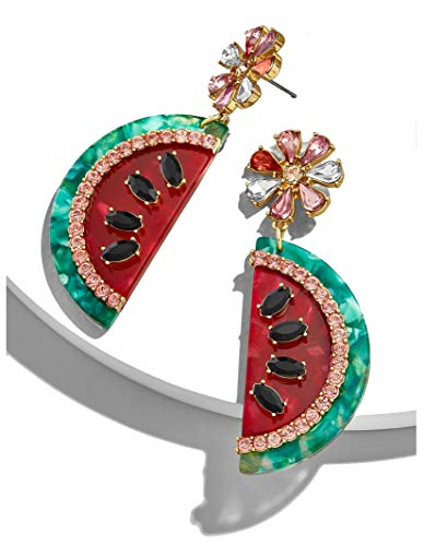 BEST LADY Cute Fruit Animals Drop Earrings - Statement Colorful Shining Crystal Dangle Earrings for Women Summer Holiday Jewelry (Watermelon)