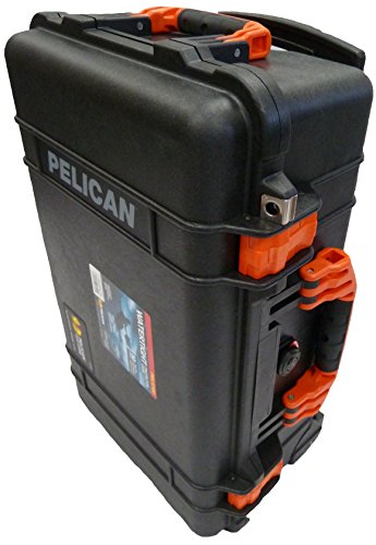 "Price comparison product image NEW Pelican ""Colors"" series - Black Pelican 1510 Case w/ Orange Handles / latches. With Foam."