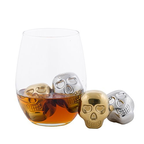 Stainless Steel Chilling Stones Reusable Skull Head Ice Cubes Set of 4 - 2 Gold And 2 Silver Skulls - Whiskey Wine Beer Vodka Chillers -
