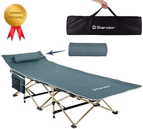 Slendor Folding Camping Cot for Adults Portable Outdoor Bed Heavy Duty Sleeping Cots for Camp with Pillow and Carry Bag, 1200D Double Layer Oxford, 500 LBS Max Load