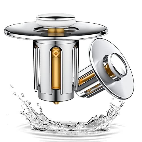 2 Stücke Waschbecken Ablaufgarnitur, bedee Universal Ablaufgarnitur Waschbecken Pop up Ventil Abflussstopfen, Chrom ablaufgarnitur spüle ohne überlauf mit 4 Ersatzdichtungen, für badewanne waschtisch