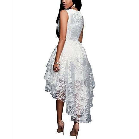 iShine Vestido Verano Blanco de Flores Sin Mangas Dobladillo Irregular Vestidos de Coctel Vestido Fiesta: Amazon.es: Ropa y accesorios
