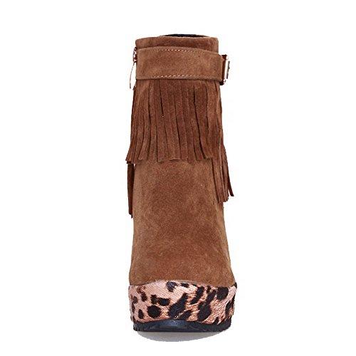 AllhqFashion Damen Blend-Materialien Rein Reißverschluss Spitz Zehe Niedriger Absatz Stiefel, Grau, 38