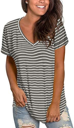 Sieanear Womens Tops Summer Short Sleeve V Neck T Shirts Casual