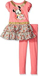 Disney Little Girls' Minnie Mouse Tunic with Legging, Orange, 5