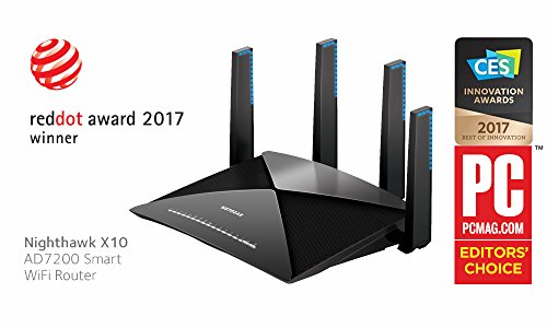NETGEAR Nighthawk X10 AD7200 802.11ac/ad Quad-Stream WiFi Router, 1.7GHz Quad-core Processor, Plex Media Server, Compatible with Amazon Alexa (R9000)