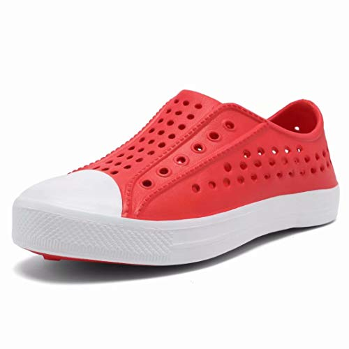 SEMARY Boy's and Girl's Garden Clogs Outdoor Beach Sandals Quick Dry Slip on Breathable Sneakers Unisex Kid's Water Shoe(Toddler/Little Kid/Big Kid) Red ()