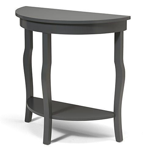 Kate and Laurel Lillian Wood Half Moon Console Table Curved Legs with Shelf, Gray