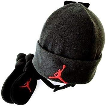 Nike Jordan bebé Forro Polar Gorro y Manoplas – Negro/Rojo – 12/24 ...