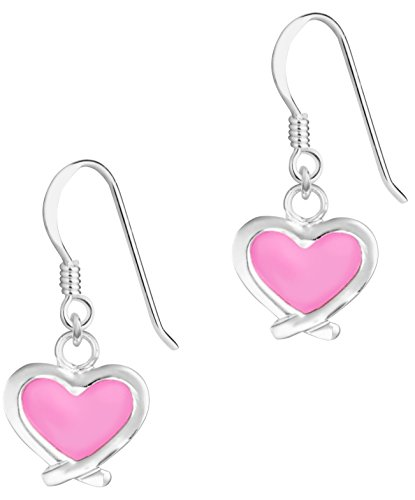 Pink Crossover - Hypoallergenic Sterling Silver Pink Crossover Heart Dangle Earrings for Kids (Nickel Free)