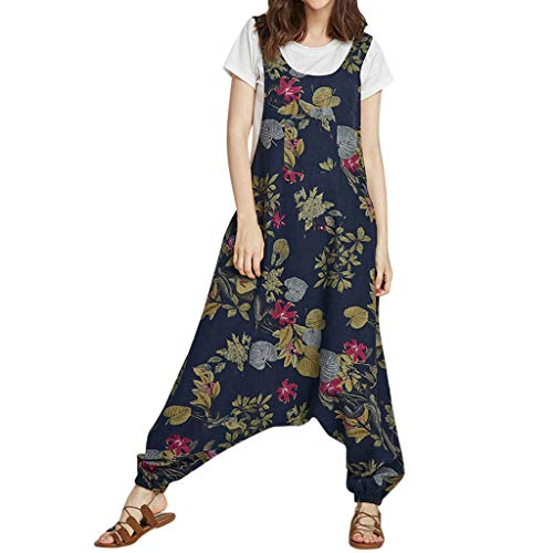 - Dressin Women's Harem Rompers Juniors Sleeveless Backless Boho Floral Printed Jumpers Jumpsuits Overalls Navy