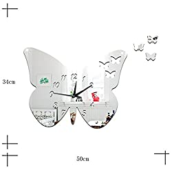 LiPing 19.7 Acrylic Butterfly Wall Clock for Home Kitchen Office Wall Clock - Easy To Read & Install Best For Home/Office/School Universal Use, Battery Operated (Silver)