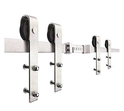 Recessed Double Door (SMARTSTANDARD 10ft Double door Sliding Barn Door Hardware (Stainless steel) (J Shape Hangers) (2 x5 foot Rail))