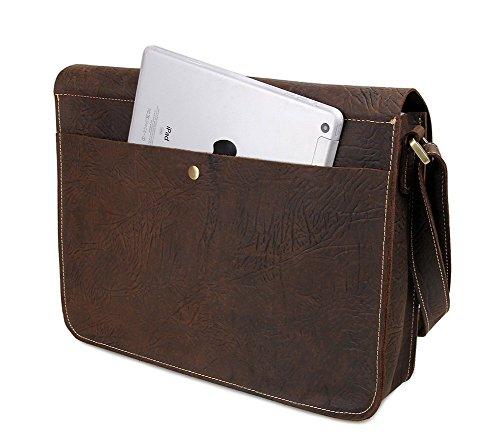Genda 2ArcherPiel Genuina Laptop Hombres bolso del mensajero Ipad Cross Body Bag