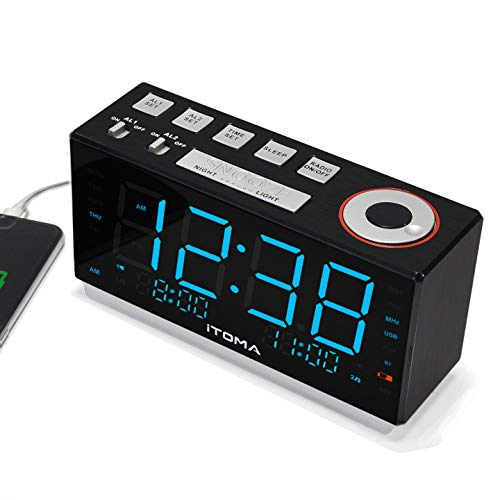(iTOMA Alarm Clock Radio, Digital FM Radio, Dual Alarm, Cell Phone USB Charge Port, Night Light, Auto & Manual Dimmer, Snooze, Sleep Timer,Battery Backup (508))