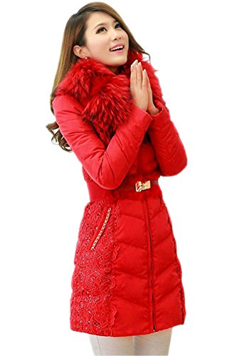 Queenshiny New Style Women's Down Coat with Lace Trim with Raccoon Collar and Hood-Red-M(8-10) Coat Lace Trim