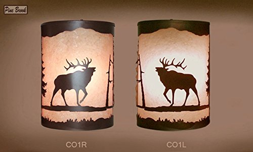 Pair of 2 Rustic Light Elk Wall Sconce Lamp, Cabin Decor Lamp Left & Right Facing ()
