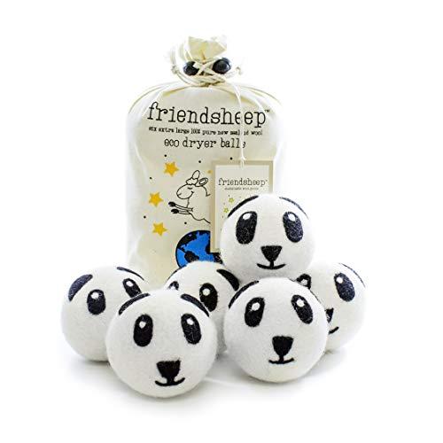- Friendsheep Organic Eco Wool Dryer Balls - Panda Pack - Handmade Fair Trade No Lint