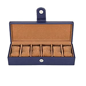 Leather World Watch Storage Box for 6 Watches Organizer case Box