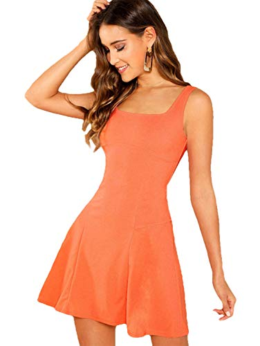 Romwe Women's Sleeveless Zipper A Line Party Bodycon Dress Orange XS