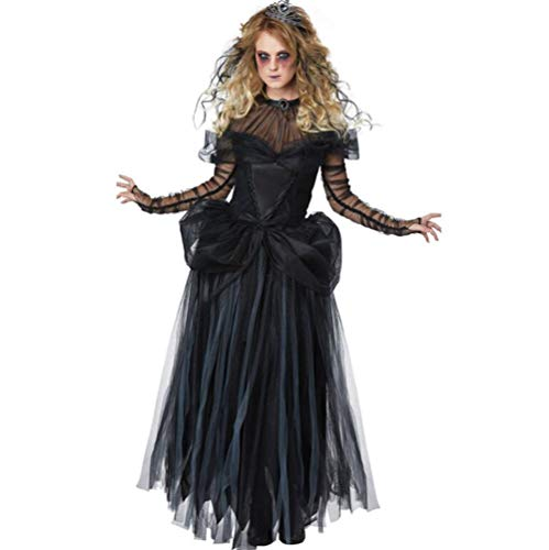QIONGQIONG Halloween Zombie Dress Costume Mesh Long Skirt Ghost Bride Role Playing Photo Stage Costume Black for $<!--$44.83-->