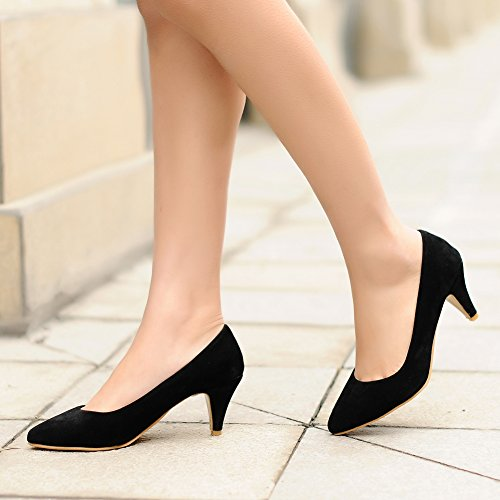 fereshte Women's Classic Simple Suede Kitten Heel Pointed-Toe Slip-On Pump Shoes Black amAMDkVydO