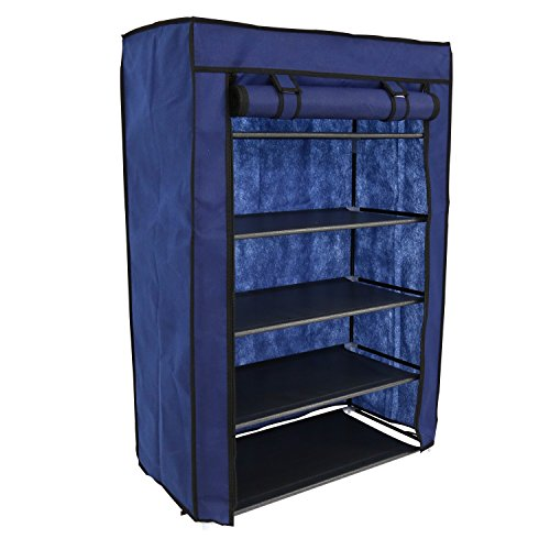24' Storage (Kinbor 24'' Portable 5 Tier Shoe Rack Shelf Storage Closet Organizer Cabinet w/Cover (Blue))