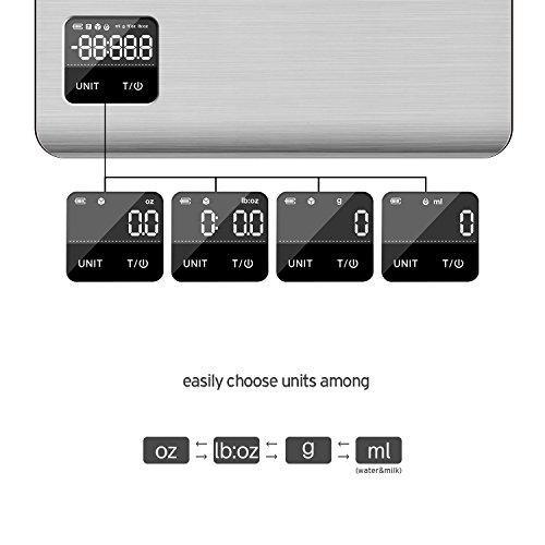 Etekcity EK7017 Digital Kitchen Multifunction Touch Scale, 11 lb 5 kg, Food Grade 304 Stainless Steel (Batteries Included), Large, Silver by Etekcity (Image #1)