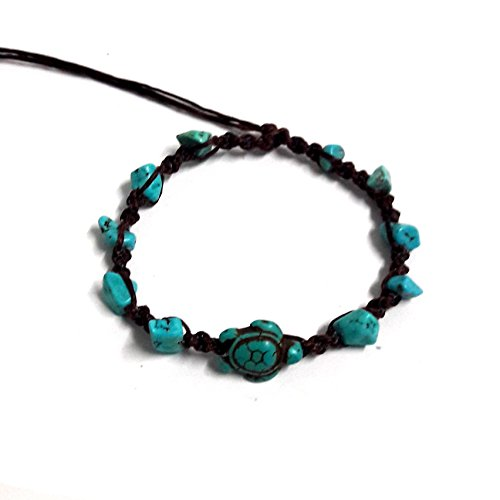 Stone Blue Turtle in Turquoise Bead Anklet or Bracelet Handmade for Women Teens and Girls