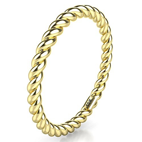 Sz 10.0 Solid 10K Yellow Gold 2MM Eternity Rope Wedding Band Ring