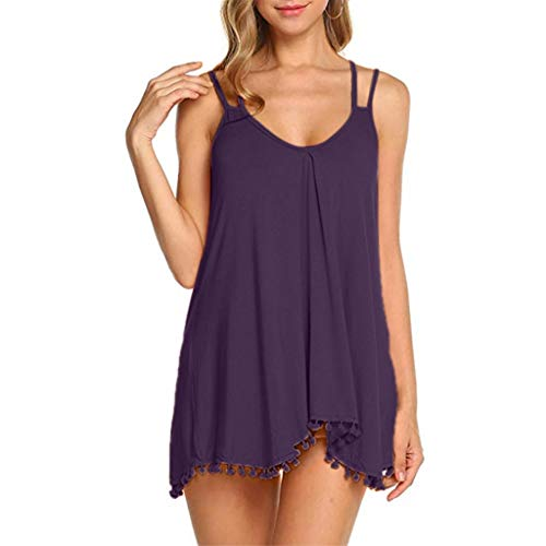 YOCheerful Women's Tops Flowy V-Neck Casual Camisoles Sexy Summer Loose Tank Top Elegant Tops(Purple, - Plaid Highland Pant Ladies
