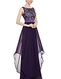 YACUN Women's Lace Elegant Long Bridesmaid Dress Wedding Party Gown