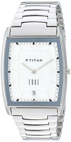 Titan Men's 'Edge' Quartz Stainless Steel Dress Watch, Color:Silver-Toned (Model: 1684SM01) ()