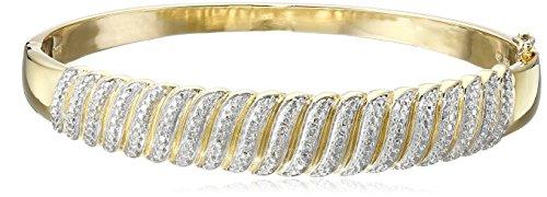 18k Yellow Gold Over Sterling Silver Diamond Bangle Bracelet (1/10cttw, I-J Color, I2-I3 - Diamonds Bracelet Sparkling