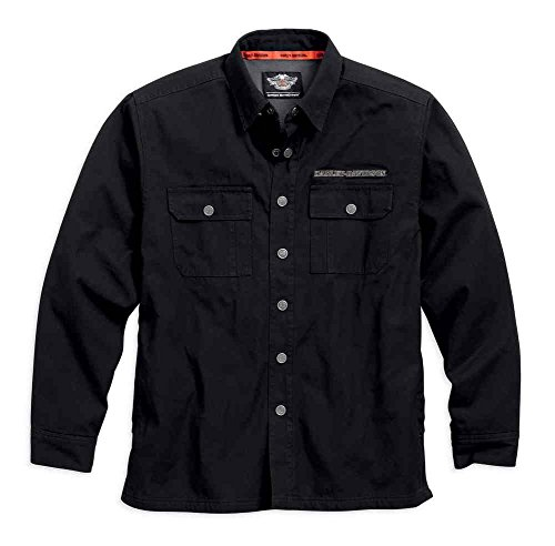 Harley-Davidson Men's Pinstripe Flames Woven Shirt Jacket, Black 99053-16VM (M) - Flame Motorcycle Jacket
