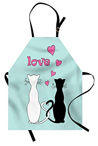 Tangled Couple Costumes - Ambesonne Cat Apron, Black and White