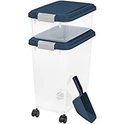 IRIS USA, Inc. 3 Piece Airtight Pet Food Storage Container Combo, Navy Blue